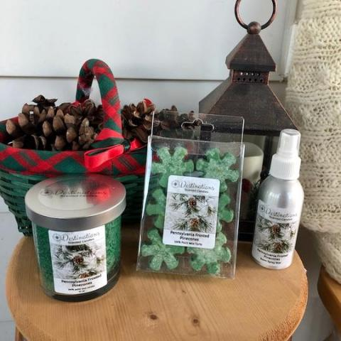 Destinations Scented Candles Pennsylvania Frosted Pine Cones Scent