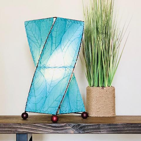 Eangee Twist Table Lamp with Real Cocoa Leaves