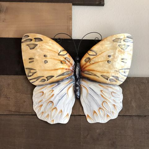 Honey and White Color Butterfly Metal Wall Art Home Decor