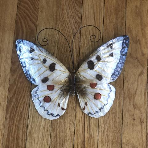 White and Red Butterfly Metal Wall Decor