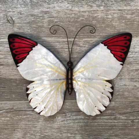 Beautiful Butterfly Metal Wall Art White with Red Tipped Wings