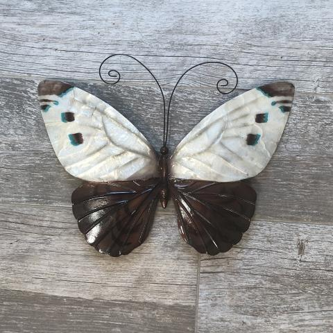 Eangee White and Blue Metal Wall Art Butterfly