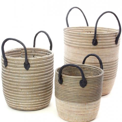 African Artisan Decorative Laundry Hamper Set of African Baskets