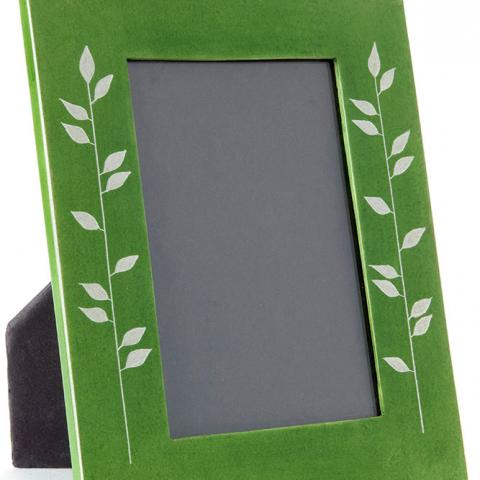 Green Soapstone Frame with Bamboo Design