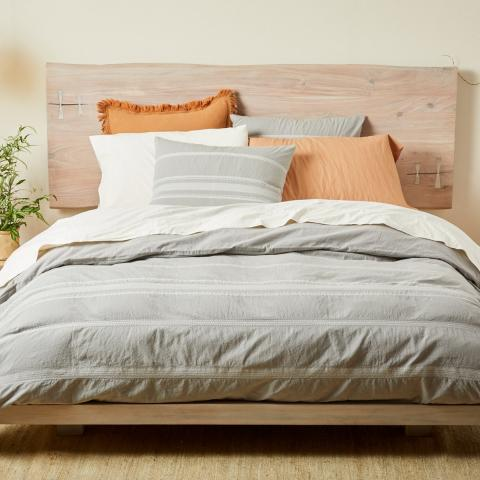 Coyuchi Ventura Striped Duvet Cover and sham