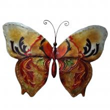 Metal Wall Art butterfly in gold and red