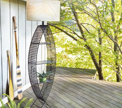 Eangee Indoor Outdoor Fish Floor Lamp with Shelves