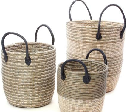 African Artisan Decorative Laundry Hamper Set of African Baskets